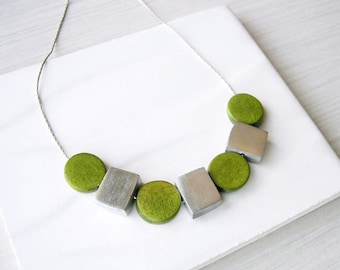 Modern Wood Necklace, Aluminum Anniversary Gift, 5th Anniversary, Olive Green, Silver Jewelry, Contemporary, Metal, Geometric