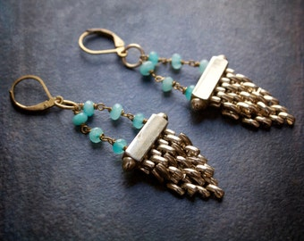 Vintage Gold Mesh Chain Chandelier Earrings with Pale Aqua Blue Jade Rosary Chain