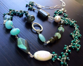 """34"""" Necklace Larimar Amazonite Turquoise Labradorite Moonstone Pearl.  Asymmetrical necklace.  Sterling Silver."""