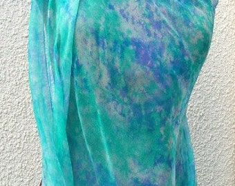 Shimmering Silk Chiffon Scarf Wrap Shawl Light Turquoise and Blue