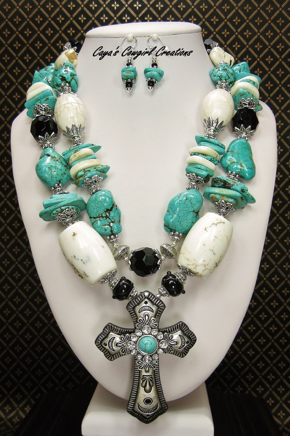 Western Cowgirl Necklace Set Howlite Turquoise Necklace