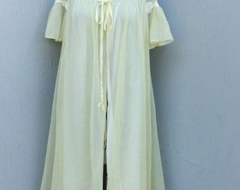Vintage Robe, Artemis, Sheer Yellow Chiffon Robe, Yellow Robe w/sheer Sleeves, White Lace, Feminine, Pretty Lingerie