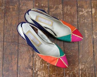 Vintage 80s Shoes | 1980s | Color Block Slingbacks