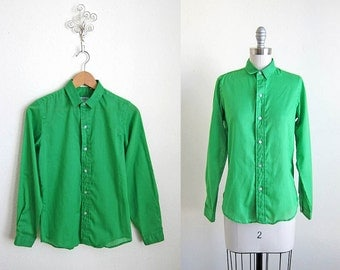60s Green Sero Blouse | 1960s Top | The Kelly Shirt