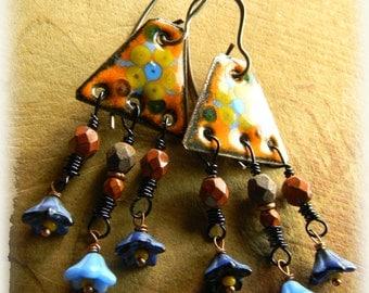 Hippie Bohemian Jewelry Earrings Burnt Orange Enamel Blue Rustic Copper