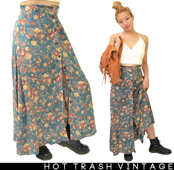 periwinkle 90 s grunge floral maxi skirt ml