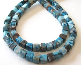 "Crazy Lace Agate Beads - Blue Brown Cube Square Beads - Cube 3D Beads - Natural Stone -  5mmx5mm - 16"" Strand - DIY Jewelry Making"