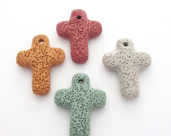 Lava Rock Jewelry - Lava Cross Pendant - Assorted Colors - Dyed Lava Volcanic Stone - Natural Rock Beads - Drilled - Jewelry Making