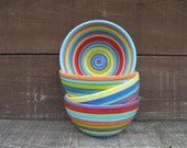 Set of 4 - Colorful Rainbow Stripe Ceramic Cereal, Soup or Ice Cream Bowls - Striped Interiors