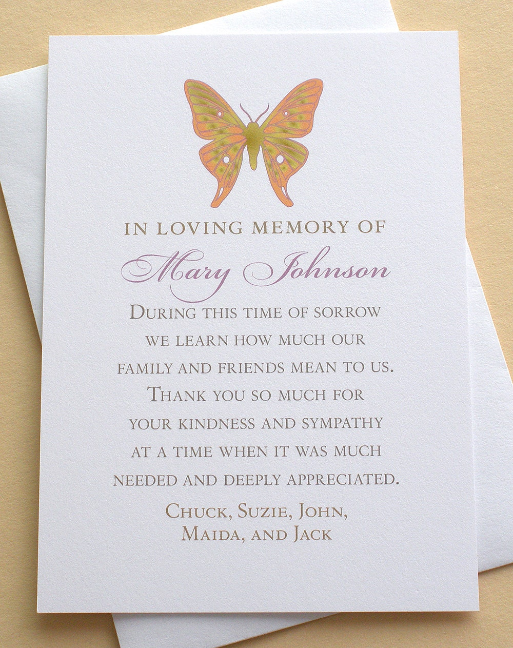 butterfly thank you sympathy cards personalized flat cards