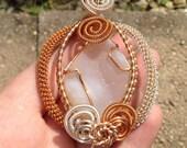 Wire wrapped Druzy - copper - silver - pendant