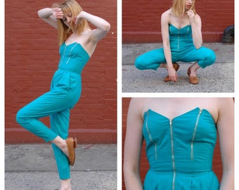 90s Romper Jumper Onsie Turquoise Small 5/6