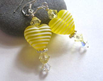 Lemon Drop Yellow Heart Lampwork Earrings