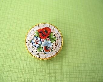 Vintage Mosaic Brooch, Round, Mini Mosaic