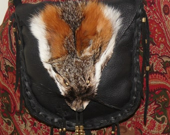 Fox face leather possibles bag mountain man unisex cross body