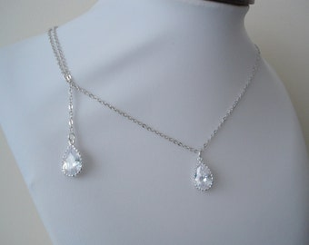 Teardrop CZ Bridesmaid Gift Necklaces with a Backdrop , Bridal Necklace, Bridesmaid Gift Necklace