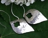 Long Hammered Sterling Silver Drop Earrings