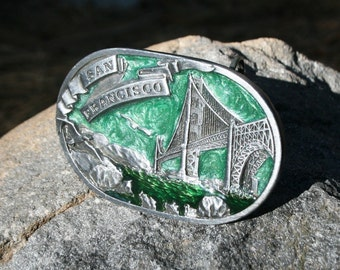 Vintage San Francisco Metal Enamel Belt Buckle - 1978