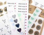 Mystery Sticker Destash Pack | made with love, thank you, handmade with love labels | mini heart stickers