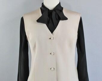 Vintage 90s Womens Sand Beige Neutral Button Down Vest, Steampunk, Victorian, Modest, Office, Size Medium