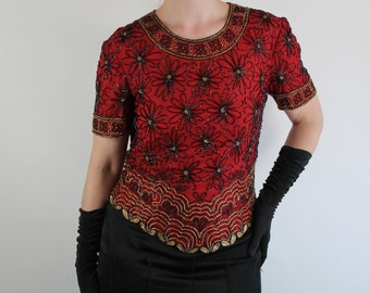 Vintage 80s does 20s Dark Red Black Beaded Flapper Style Glam Top