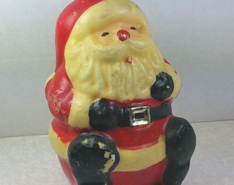 SANTA CLAUS CANDLE, Solid Wax,1950's to 1960's, Sitting, Chubby Fellow, Vintage Christmas, Holiday Decor