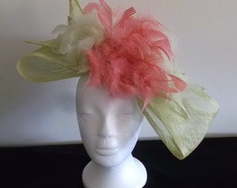 Sheer Delight Feathered Fascinator (Light Green & Hot Pink)