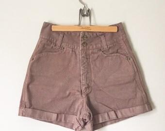 Vintage Bergamo Denim Shorts / Brown / High Waisted Jean Shorts / Summer Festival Style Boho Bohemian Hippie Wear