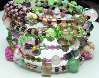 Gemstone Lampwork Beaded Beads Beadwork Crystal Memory Wire Bohemian Bracelet - SRAJD - Pink Purple Green - Multi-Color Flower Lampwork