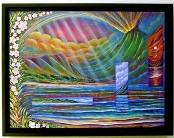 "HAWAIIAN ISLAND ART: Museum Wrap Canvas Print  image 12"" x 18""  artbydennis"