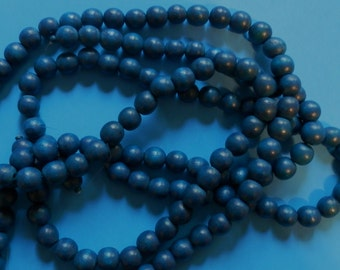4 Strands of Wood Beads, 12mm, Blue