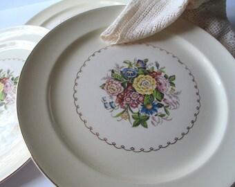 Vintage Paden City Pottery Floral Dinner Plates Set of Four