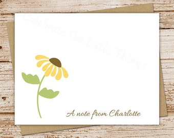 brown-eyed susan flower note cards, notecards - set of 8 - folded personalized stationery, stationary - sunflower, floral, feminine