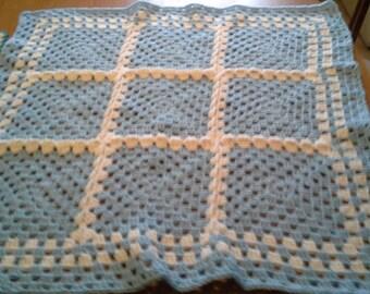 Crochet Granny Square Baby Infant Toddler Blanket Lapghan