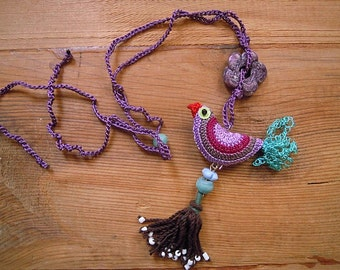 crochet bird necklace with tassel, lilac multicolored