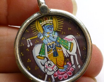 Krishna Hindu Godess Pendant God Sterling Silver 925 Indian India Miniature Painting Focal Bead One of a Kind Rare Jewelry Gold Leaf Flute