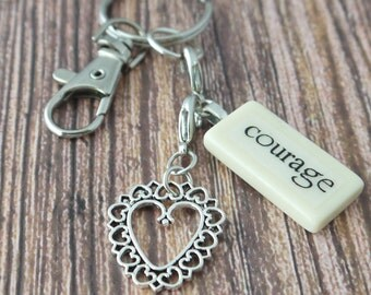 COURAGE Key Chain Personalized Customized Domino Key Chain Gift for Mother, Sister, Aunt, Cancer Survivor by Kristin Victoria Designs