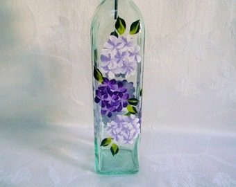 Oil decanter, hand painted oil bottle, painted hydrangeas