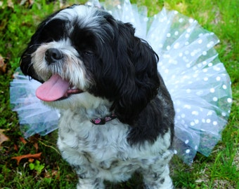 """Wedding day dotty white 6"""" dog or pet tutu tulle clothing halloween costume couture fluffy  -- SistersEnchanted"""