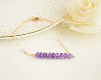 Amethyst Gemstone Bar Bracelet - Layering