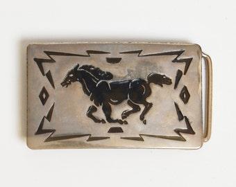 Vintage 70s Silver Horse Belt Buckle / 1970s Southwestern Buckle