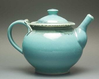Handmade stoneware teapot 32 oz  turquoise tea pot 2470