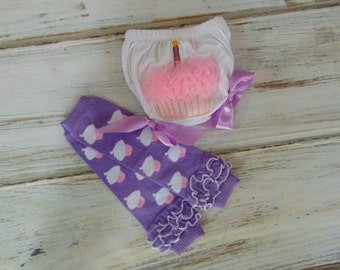 Baby 1st Birthday Bloomer and Leg Warmer Set- Birthday Party Clothing-Birthday Candle