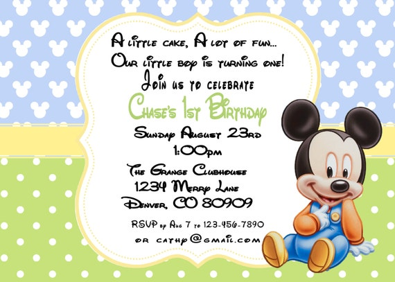 Printable PDF MIckey Mouse Birthday 1st birthday Invitation by A