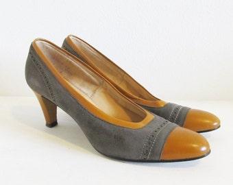 Vintage 1970's Suede Leather Pumps / Ladies Size 8 Tone Brown Heels