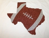 Big Glitter State Football Design--Done with any state you choose-Unique and Sparkley