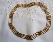 Vintage Gold Tone Mesh Choker Style Link Necklace