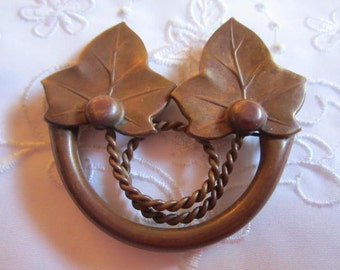Vintage Brown Brass Double Leaf Brooch