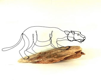 Cougar Wire Sculpture, Mountain Lion Wire Sculpture, Puma Wire Sculpture, 245818230Panther Sculpture,