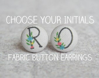 Choose Your Initials Fabric Covered Button Earrings